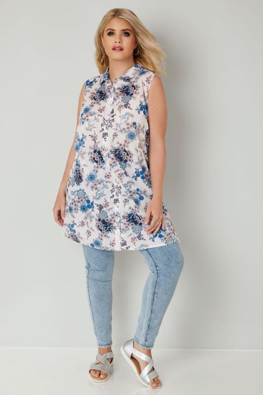 White & Blue Floral Print Longline Sleeveless Shirt