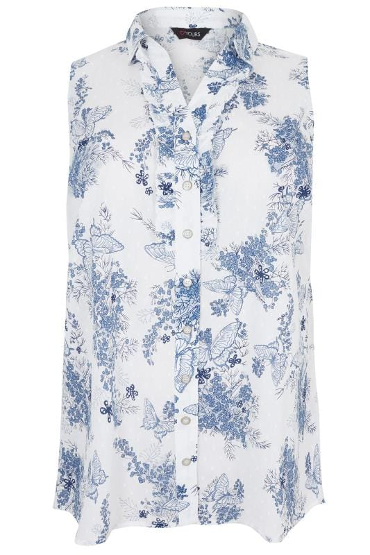 White & Blue Floral Print Sleeveless Dobby Shirt With Frill Placket