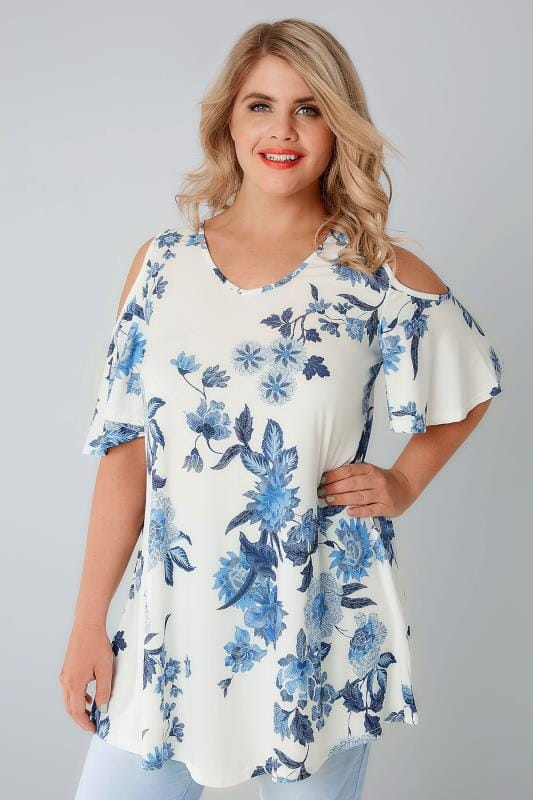 White & Blue Floral Print Slinky Cold Shoulder Top