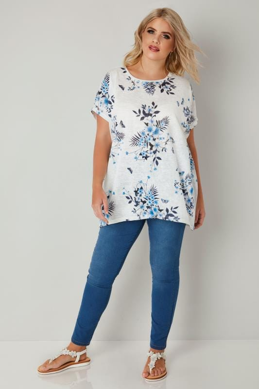 White & Blue Floral Print Top With Grown On Sleeves