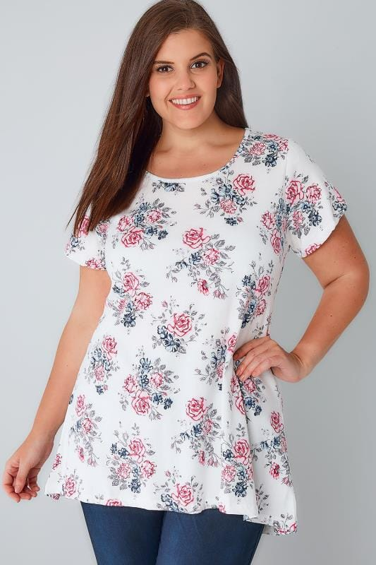 White, Blue & Pink Delicate Floral Print Top