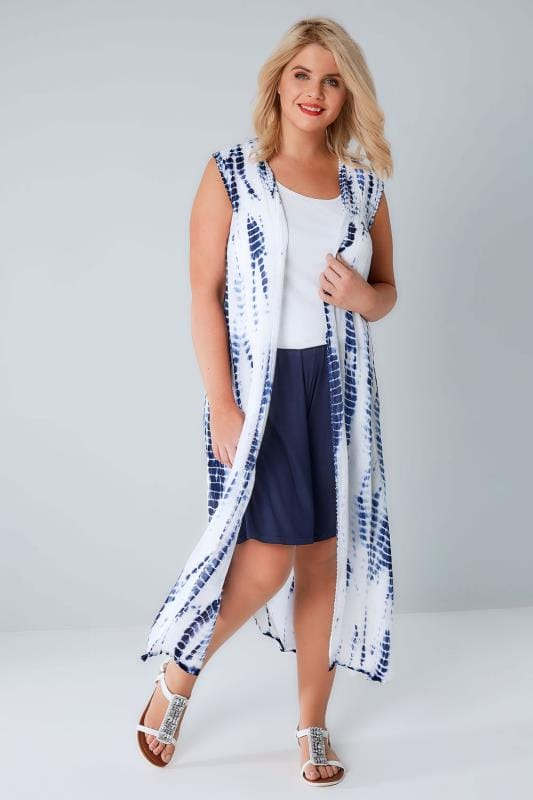Kimonos & Waistcoats White & Blue Tie Dye Longline Sleeveless Kimono With Crochet Trim 156225