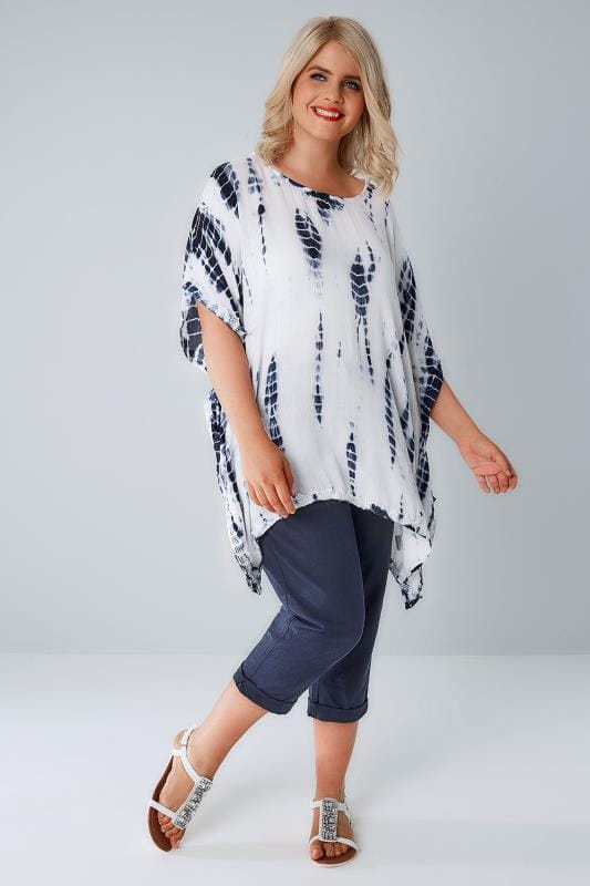 YOURS LONDON White & Blue Tie Dye Oversized Cape Top With Crochet Trim
