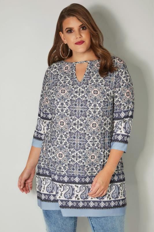 Plus Size Longline Tops White & Blue Tile Print Top With Border