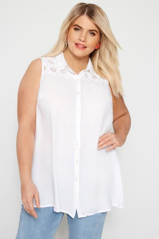 Plus Size Shirts White Broderie Sleeveless Shirt