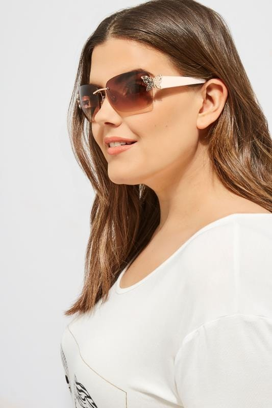 Plus Size Sunglasses White Butterfly Frameless Sunglasses