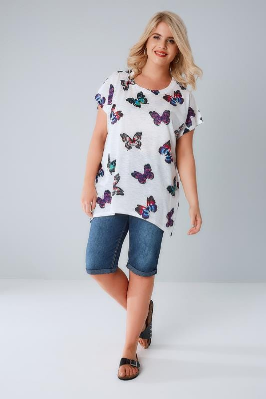 White Butterfly Print Top With Diamante Stud Detail