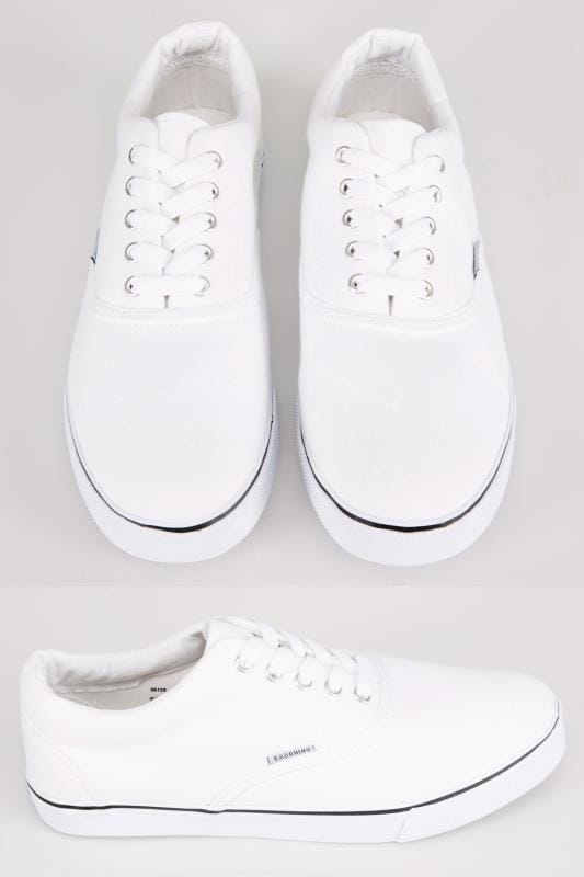 Trainers & Plimsolls  White Canvas Lace Up Plimsolls 056155