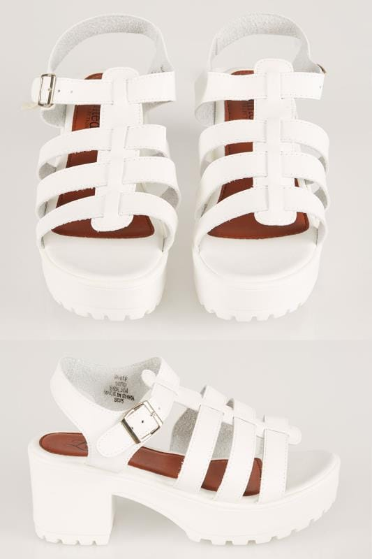 White Cleated Platform Gladiator Sandals In E Fit
