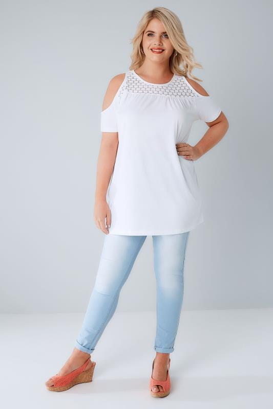 White Cold Shoulder Jersey Top With Lace Yoke