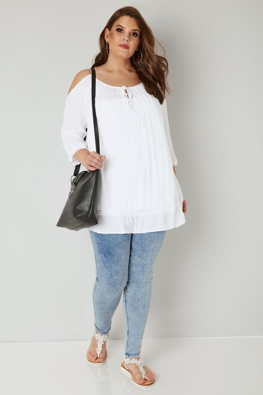 White Cold Shoulder Top With Lace Trim