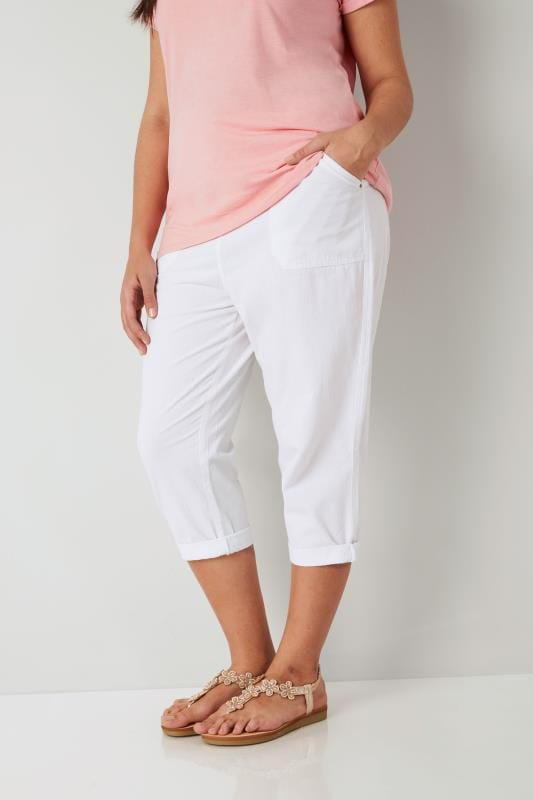 Plus Size Cool Cotton Crops White Cool Cotton Cropped Trousers