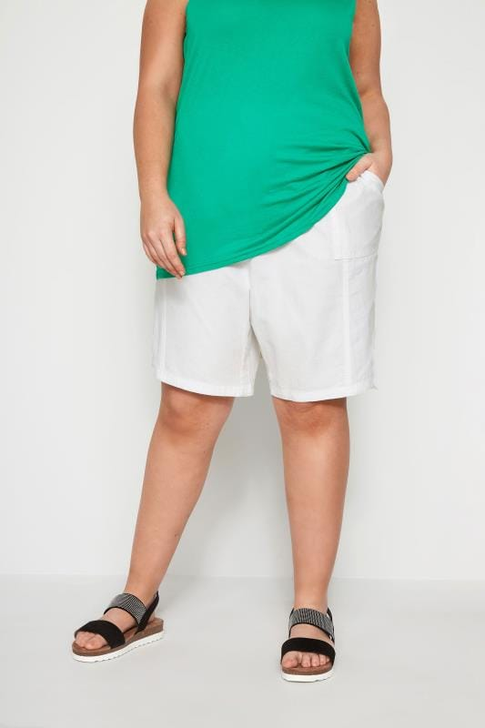 Plus Size Cotton Shorts White Cool Cotton Pull On Shorts