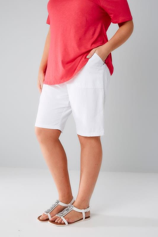 White Cool Cotton Pull On Shorts With Pockets