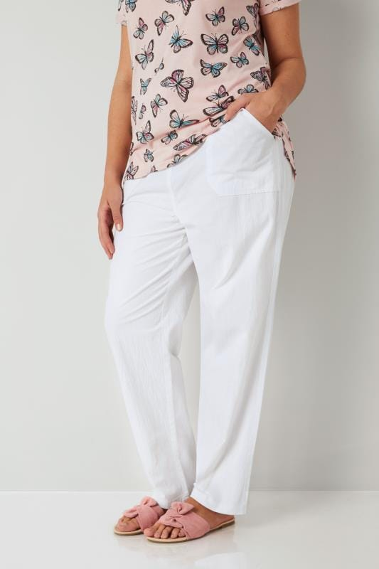 Plus Size Cotton Pants White Cool Cotton Pull On Wide Leg Trousers