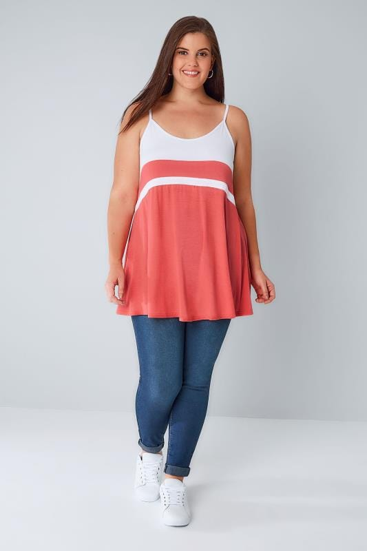 White & Coral Colour Block Cami Top