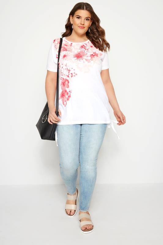White & Coral Floral Diamante Drawstring T-Shirt