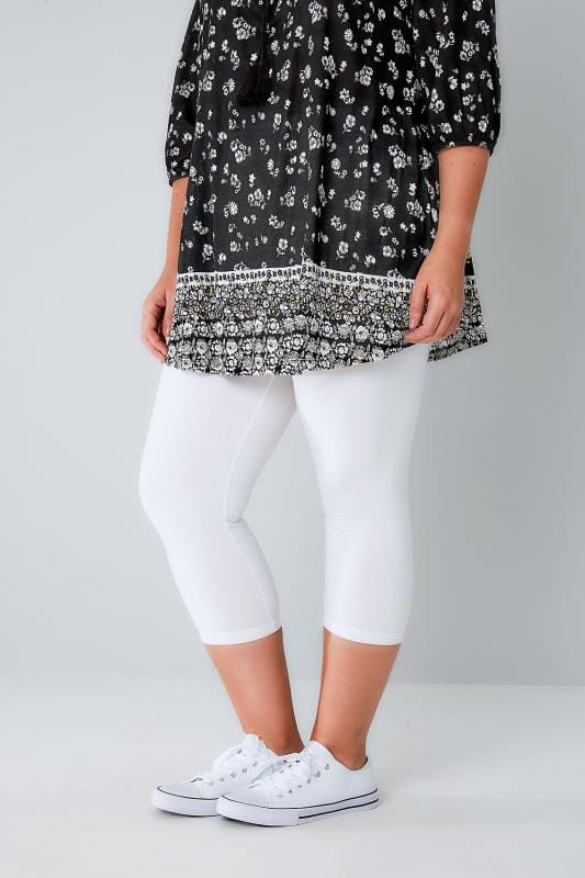 Plus Size Cropped & Short Leggings White Cotton Elastane Cropped Leggings