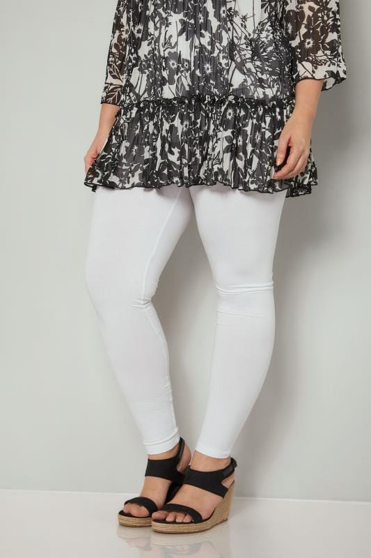 Plus Size Basic Leggings White Cotton Essential Leggings