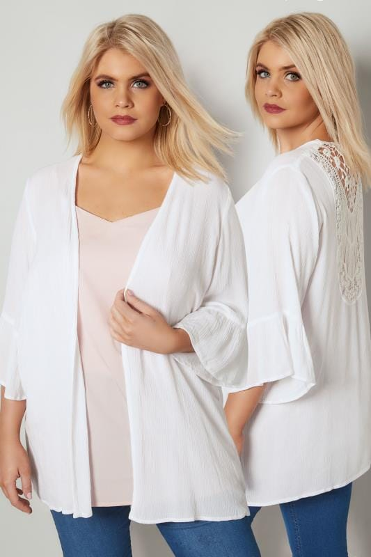 Plus Size Cover Ups White Cover-Up With Crochet Back & Flute Sleeves