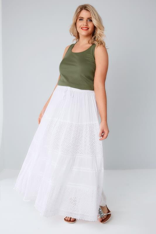 White Crinkle Cotton Tiered Maxi Skirt With Broderie Anglaise