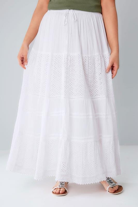 Plus Size Maxi Skirts White Crinkle Cotton Tiered Maxi Skirt With Broderie Anglaise