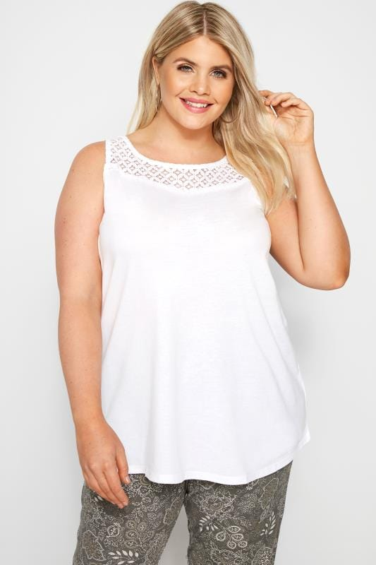 White Crochet Lace Vest Top