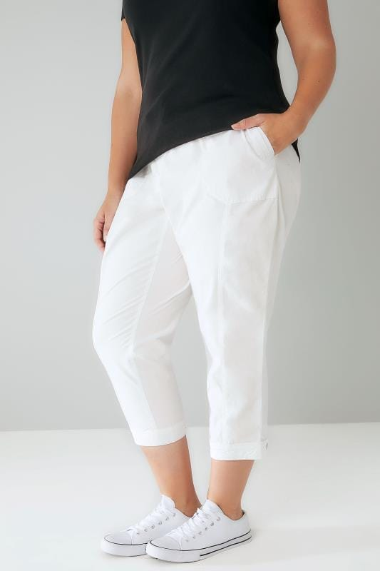 Pantacourts White Cropped Cotton Trousers With Ribbed Waistband 170309