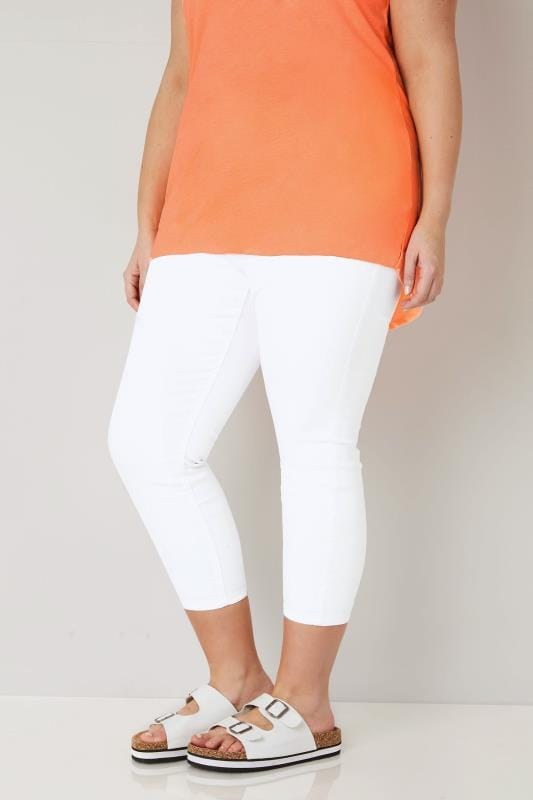 Plus Size Cropped Jeans White Cropped JENNY Jeggings