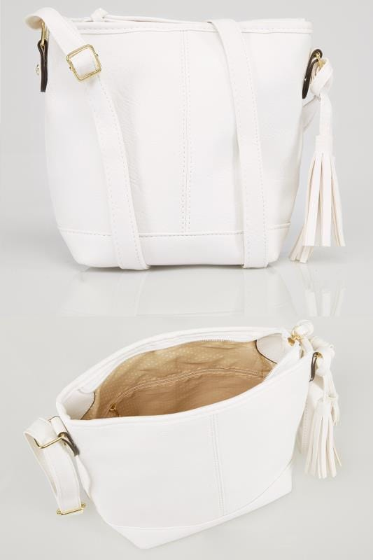 White Cross Body Bag With Tassel Detail