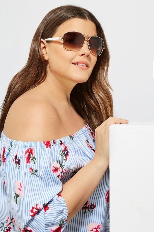 White Diamante Aviator Sunglasses
