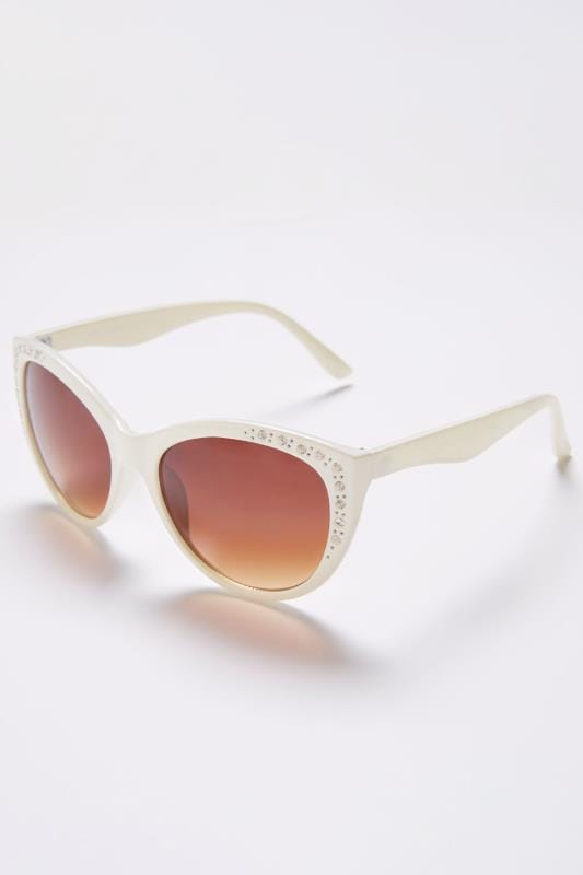 White Diamante Embellished Sunglasses With UV 400 Protection