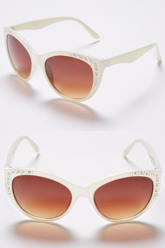 Plus Size Sunglasses White Diamante Embellished Sunglasses With UV 400 Protection