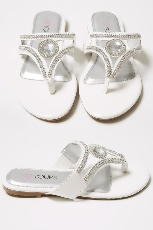 Wide Fit Sandals White Diamante Embellished Toe Post Flat Sandals In True EEE Fit 154042