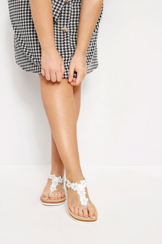 White Diamante Flower Sandals