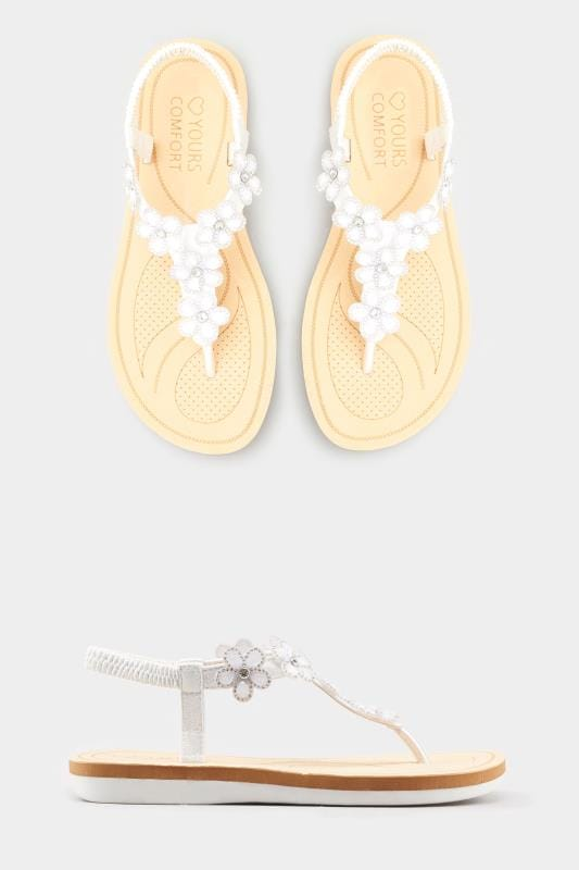 d3447147651a Wide Fit Sandals White Diamante Flower Sandals