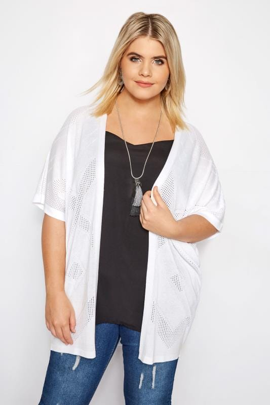 Plus Size Cardigans White Diamond Knit Cardigan