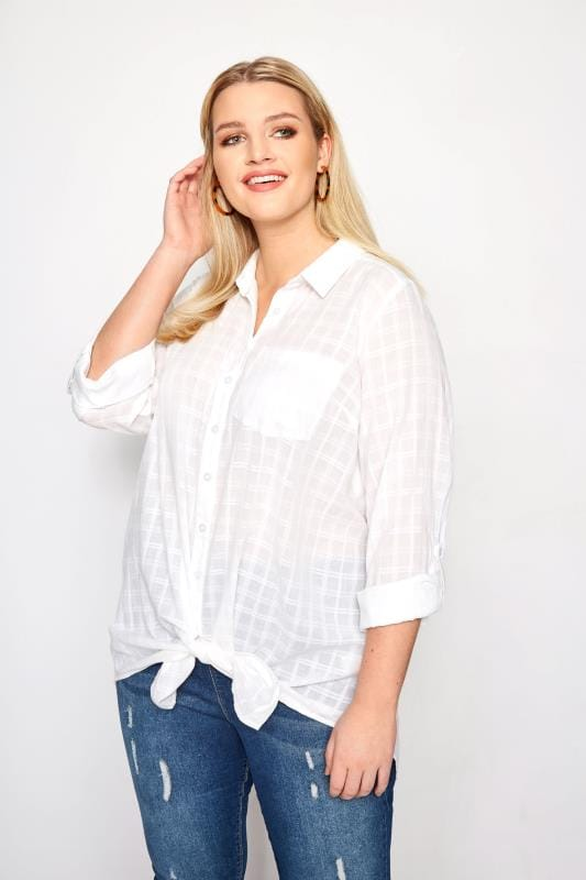 Plus Size Shirts White Dobby Check Tie Front Shirt