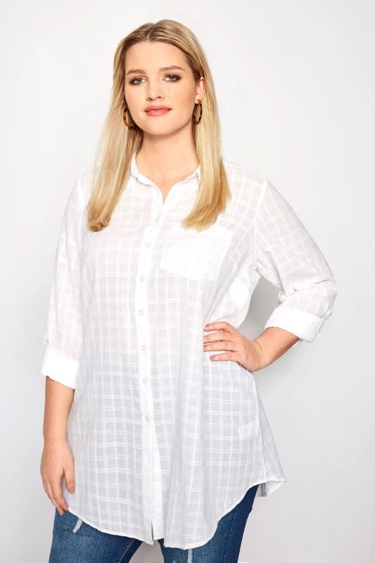 17fefe741e4 Plus Size Shirts White Dobby Check Tie Front Shirt