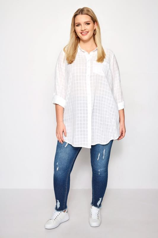 plus size white dobby check tie front shirt