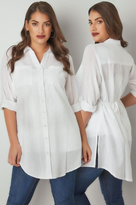 Plus Size Blouses & Shirts White Dobby Textured Shirt With Tie Fastening