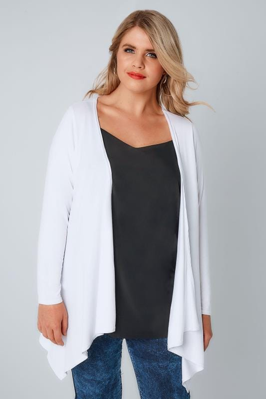 Gilets White Edge To Edge Waterfall Jersey Cardigan 057118