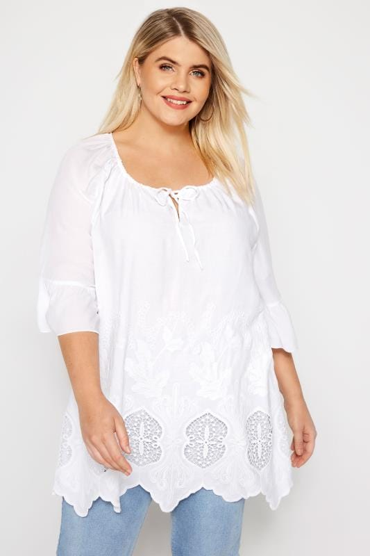 aae0f2a44df761 Plus Size Blouses White Embroidered Blouse