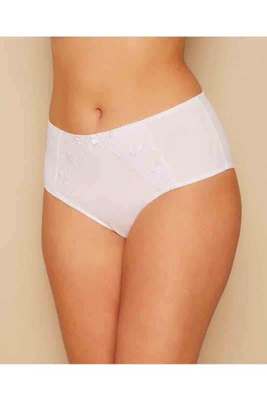 White Embroidered Briefs With Lace Detail
