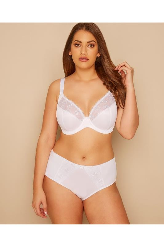 White Embroidered Non-Padded Bra with Lace Detail