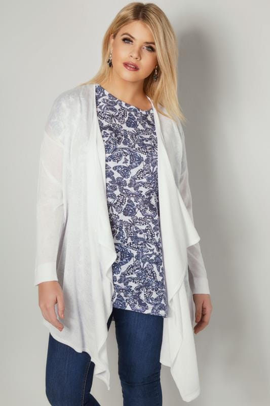 Plus Size Cardigans White Fine Knit Waterfall Cardigan