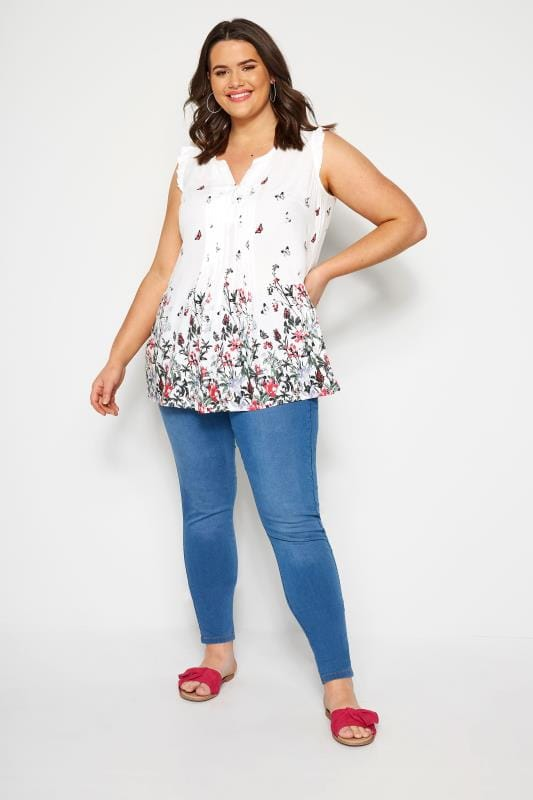 White Floral Border Pintuck Blouse