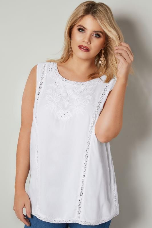 Plus Size Day Tops White Floral Broderie Sleeveless Top