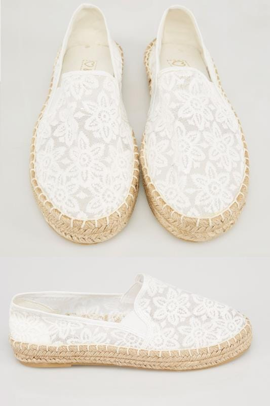 Wide Fit Flat Shoes White Floral Crochet Espadrilles In E Fit 057211