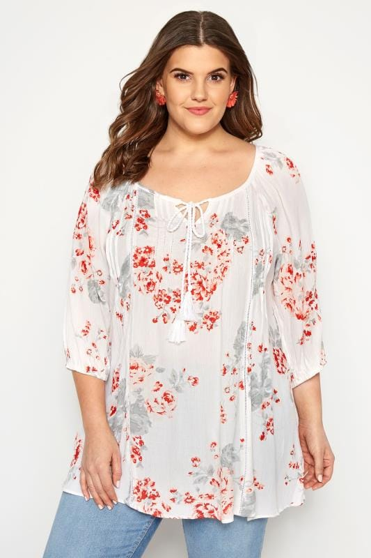 Plus Size Gypsy Tops White Floral Gypsy Top